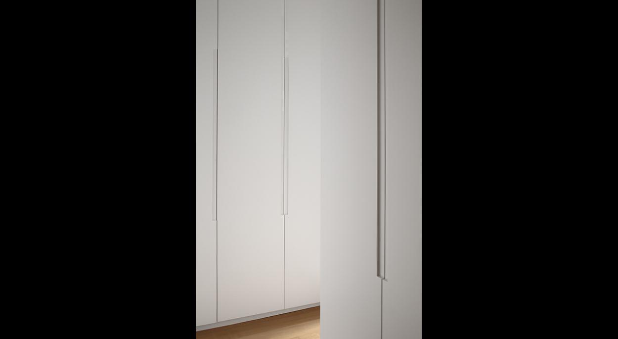 Espace dressing, perspective, rangements, poignées en creux, blanc, parquet, minimal, contemporain
