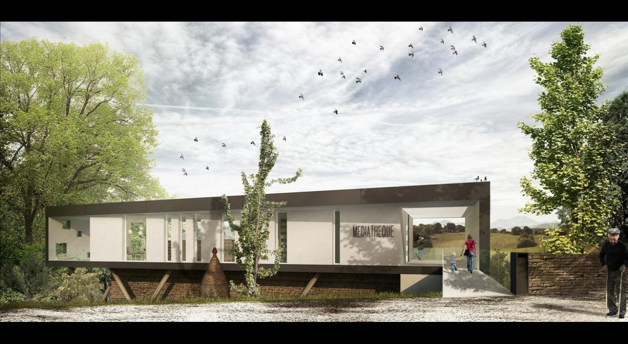 bâtiment en liaison avec les espaces publics existants