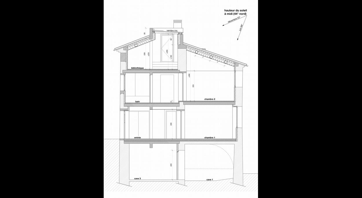 coupe maison de village entrevennes benoit sejourne architecte