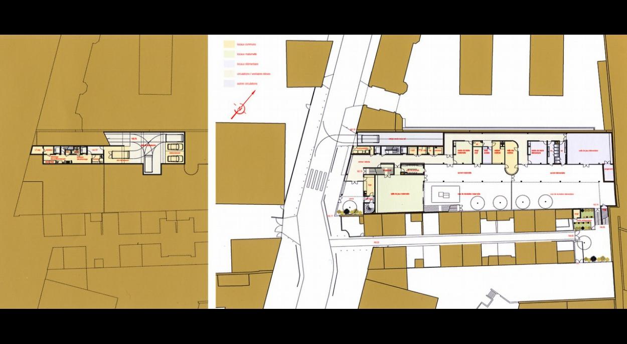 ECOLE POLYVALENTE - rue Olivier Metra PARIS  plans R-1 / RDC