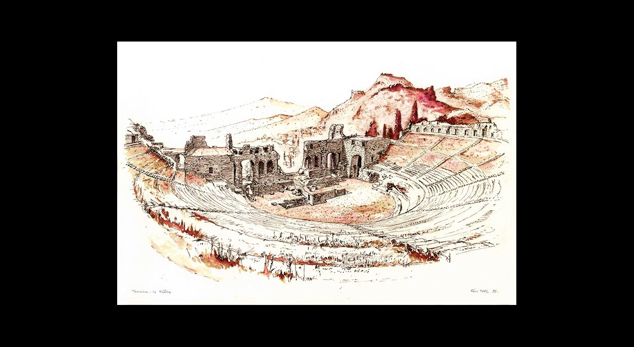 Rémi TURC architecte Château-Thierry Reims Épernay – dessin plume 1995 Taormina, théâtre