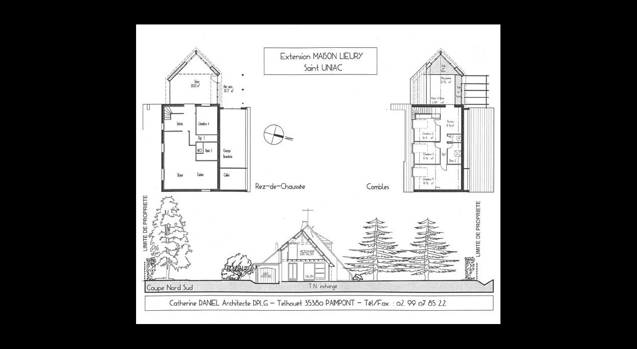 Plans et coupes de l'extension