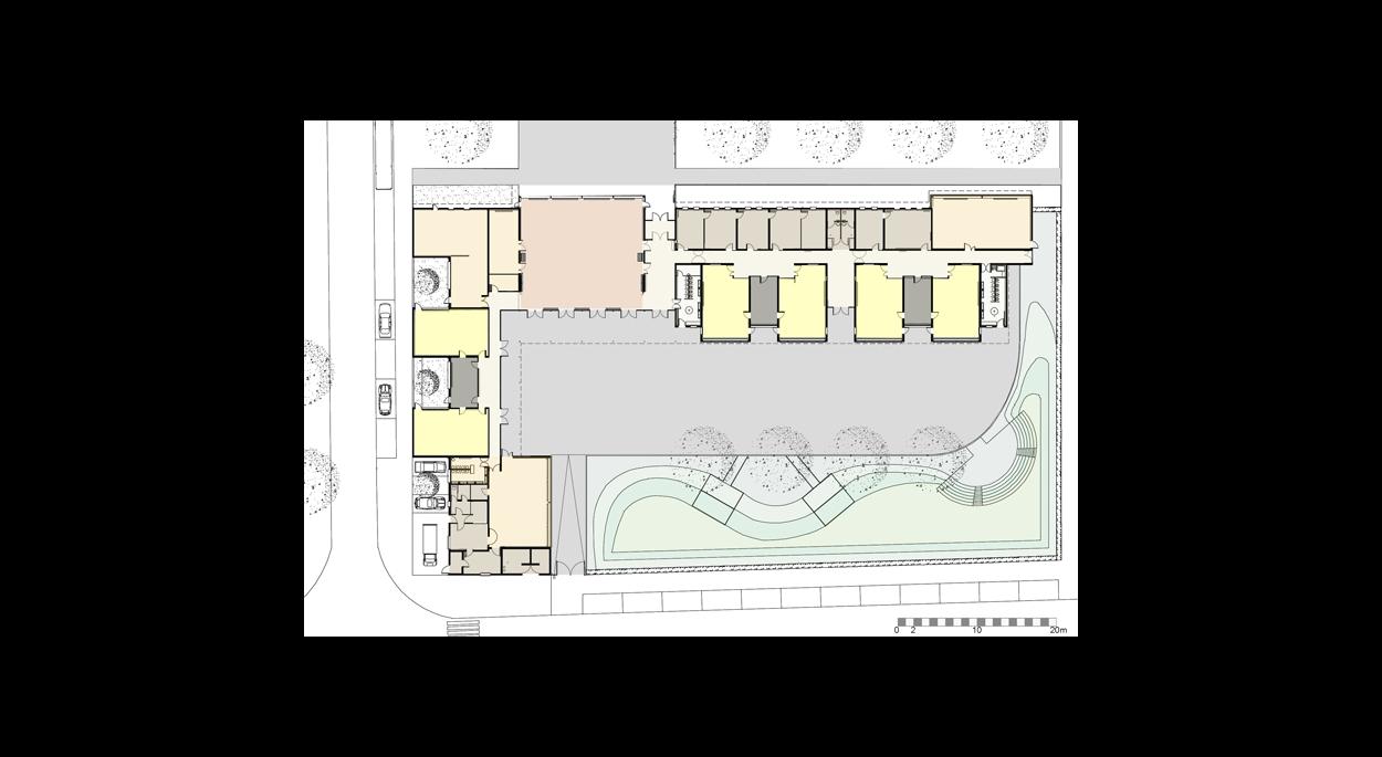 plan et zonning couleur, répartition des classes espace et loisir