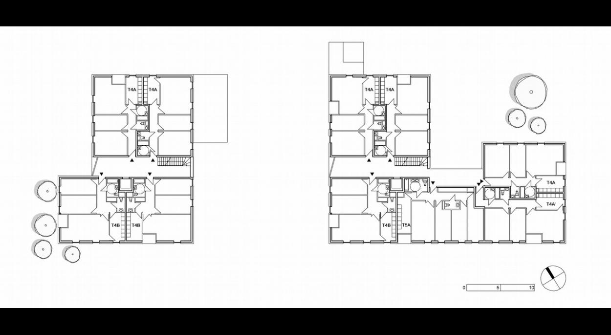 Les logement issus d'une même base typologique partagent la même logique : double-orientation, séjour d'angle, salles d'eau en profondeur, grande épaisseur du bâti, circulations communes généreuses.