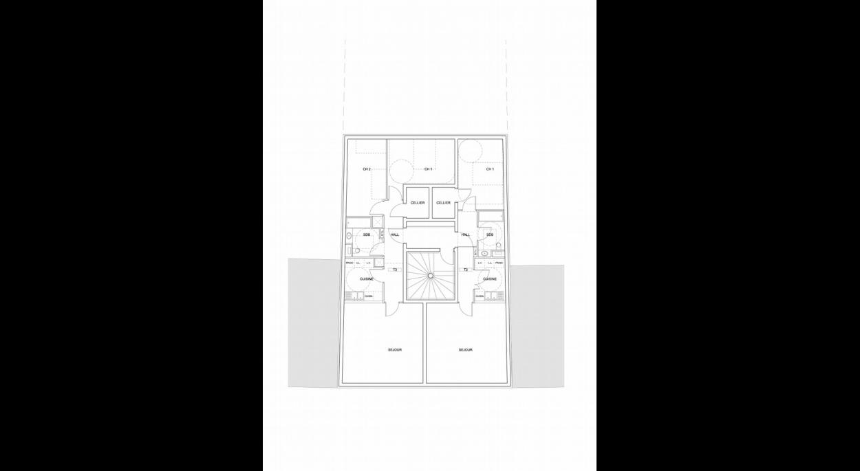 Deux logements traversants par niveau : utilisation maximale de la profondeur constructible.