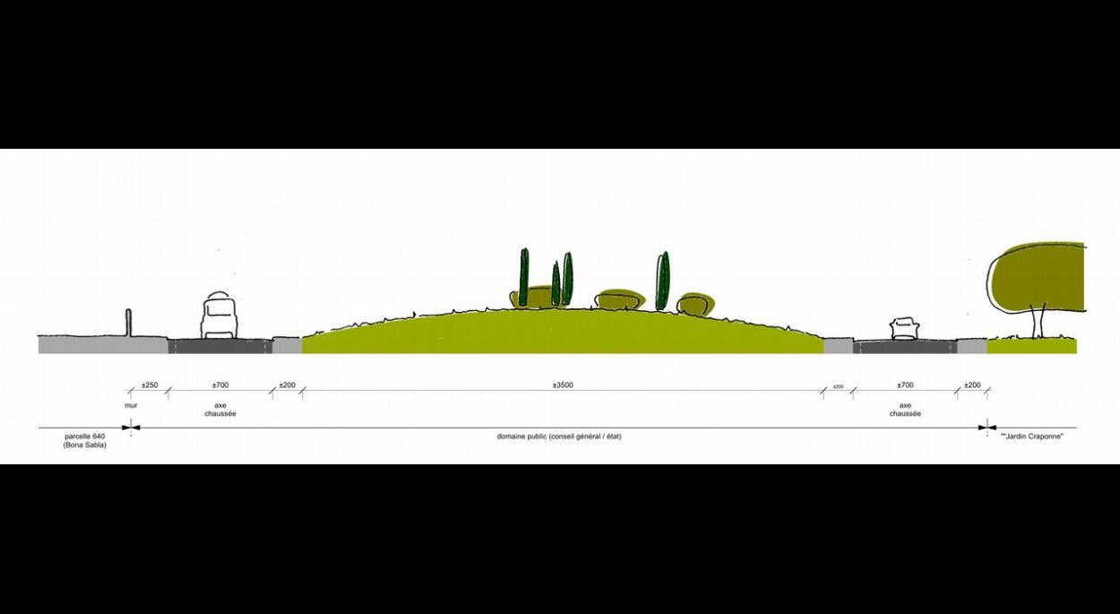 coupe existant traitement des entrées de ville lamanon étude benoit sejourne architecte