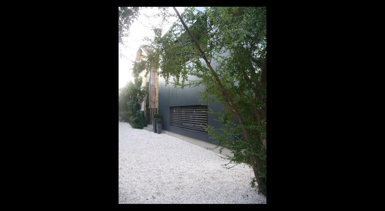 Façade principale - extension bois - habillage panneaux bois