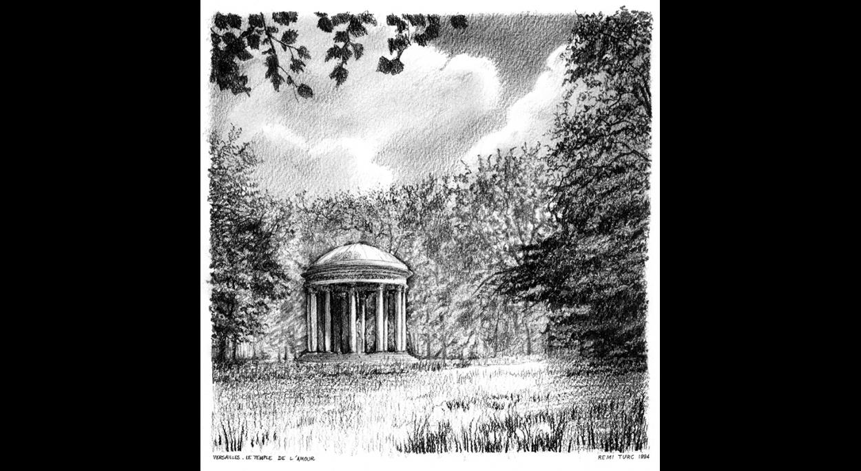 Rémi TURC architecte Château-Thierry Reims Épernay – dessin crayon 1994 Versailles, temple de l'Amour