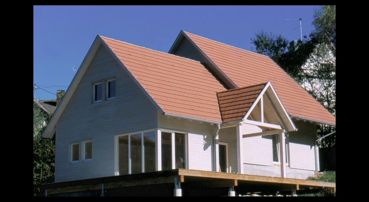 maison demi niveau ossature bois bardage bois alsace