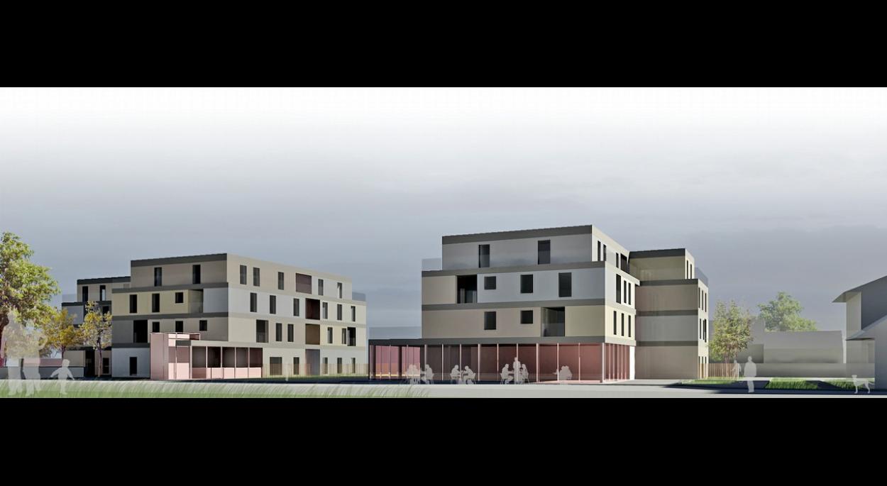 Unité et diversité : les volumes colorés des logements s'insèrent dans un réseau horizontal unitaire. Les décalages des volumes fragmentent l'échelle du projet et permettent l'identification du cadre bâti.