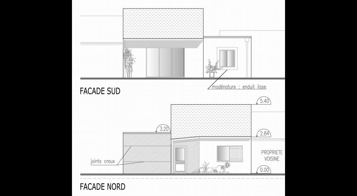 Dans ce projet les espaces sont optimisés et les circulations réduites au minimum. On s'est toutefois attaché à garder une vraie entrée fermée autour de laquelle s'articulent l'espace de nuit avec 2 chambres, une buanderie, les sanitaires et le séjour.