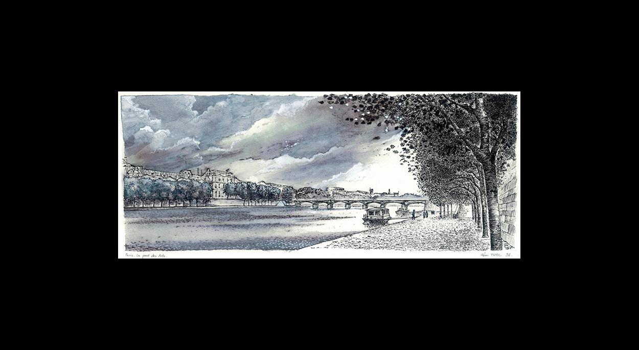 Rémi TURC architecte Château-Thierry Reims Épernay – dessin plume 1996 Paris, pont des Arts
