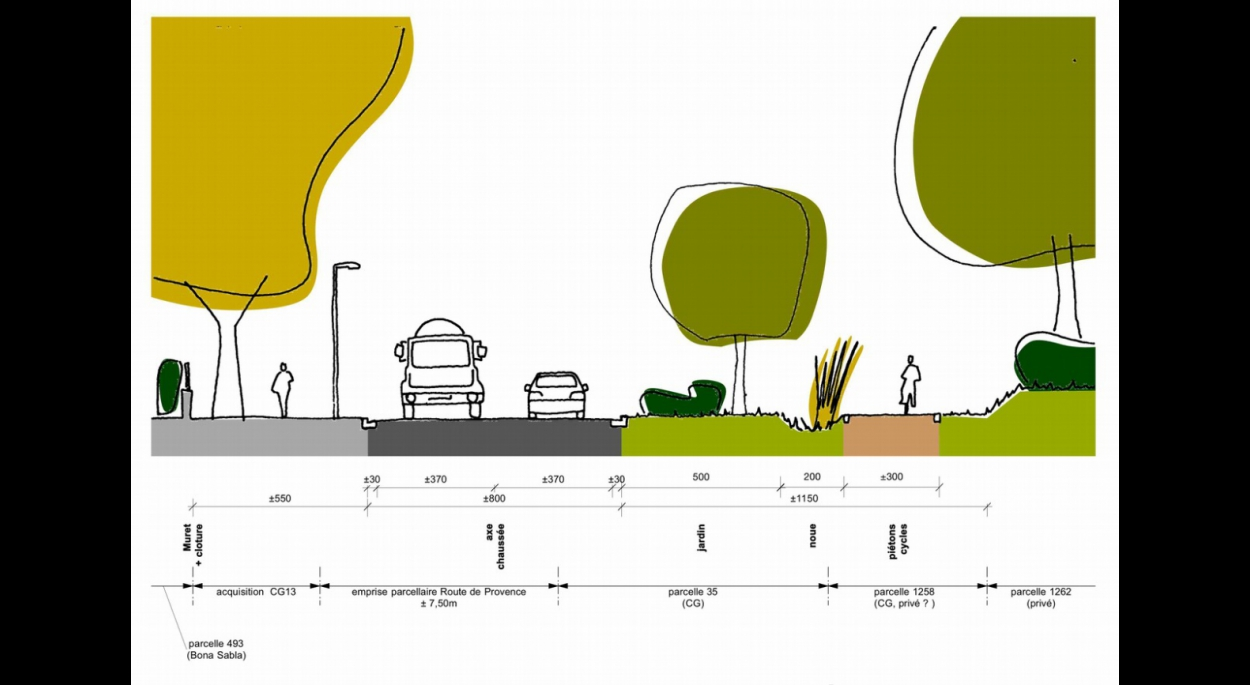 coupe bastide traitement des entrées de ville lamanon étude benoit sejourne architecte