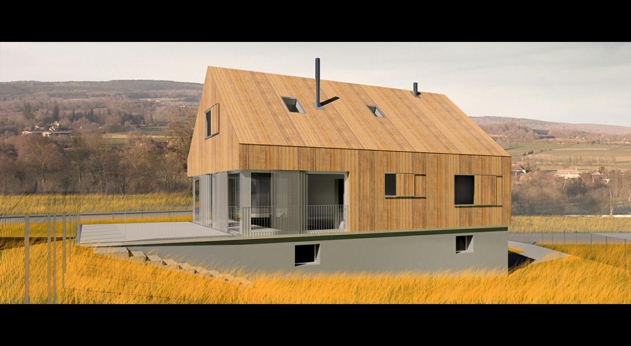Ce projet vise à interroger l'héritage pavillonnaire français : comment le faire évoluer, tant dans la forme que dans la performance énergétique et, surtout, dans le signifiant. Le bardage bois intégral est un moyen de