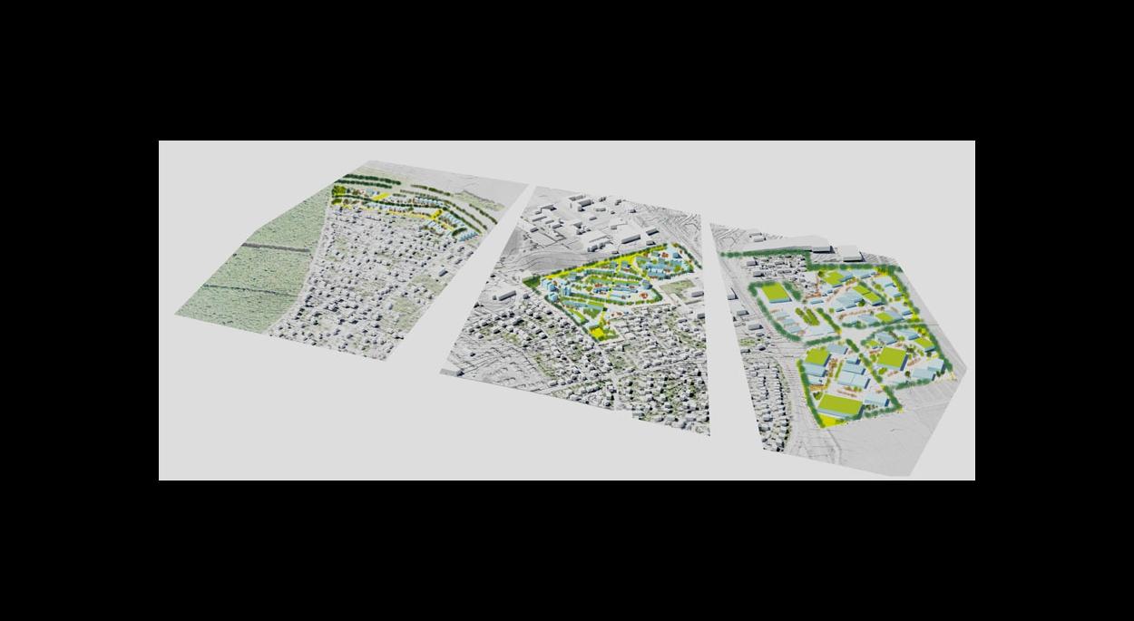 vue d'ensemble des 3 secteurs en création