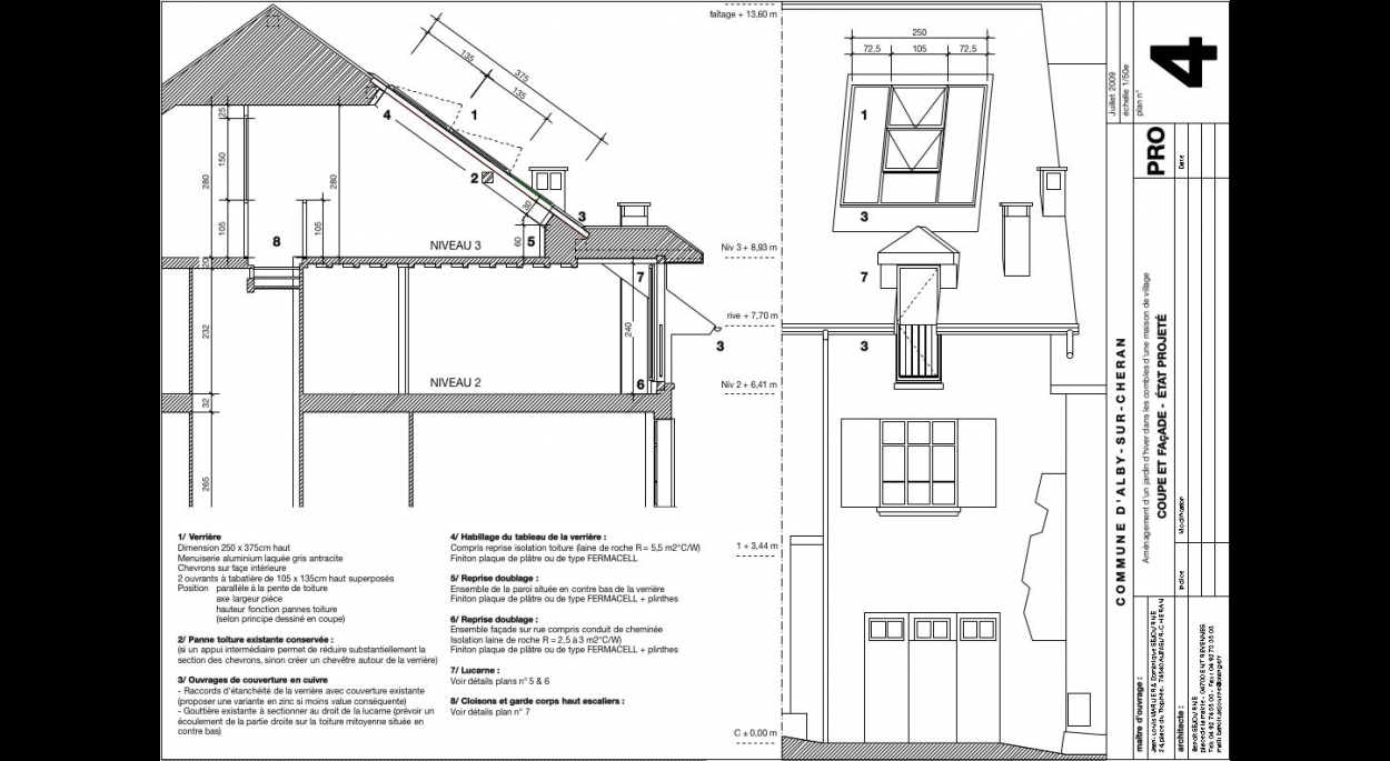 coupe et facade amenagement de toiture alby sur cheran benoit sejourne architecte
