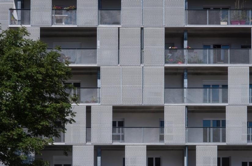 Loïc Brandet architecte - Bout des Landes, 15 rue Pont-Aven à Nantes - Façade Est (balcon) - Étages courants