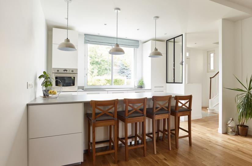 cuisine, rénovation, verrière, ilot, parquet,