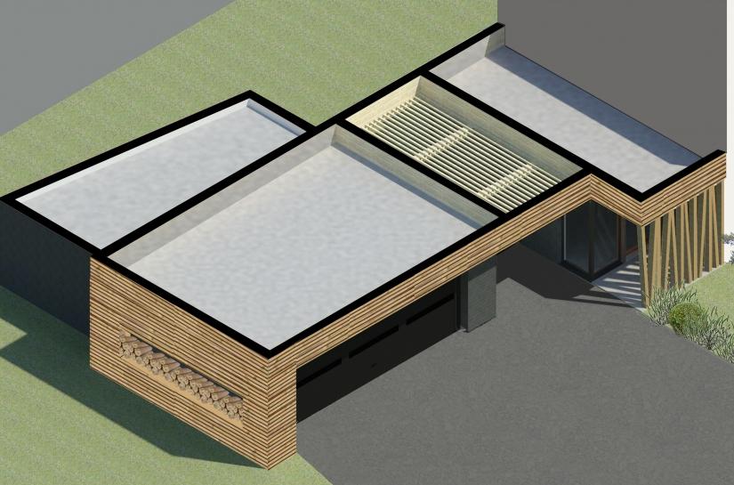 Les deux extensions sont deux boîtes en ardoises rappelant le matériau de couverture de la maison existante.      La boîte du garage coulisse de manière à créer un auvent à son entrée, et à ressortir côté sud pour rompre avec la linéarité du projet. Le mur en biais apporte un caractère dynamique tout en dirigeant la vue sur l'extérieur vers le cœur du jardin.
