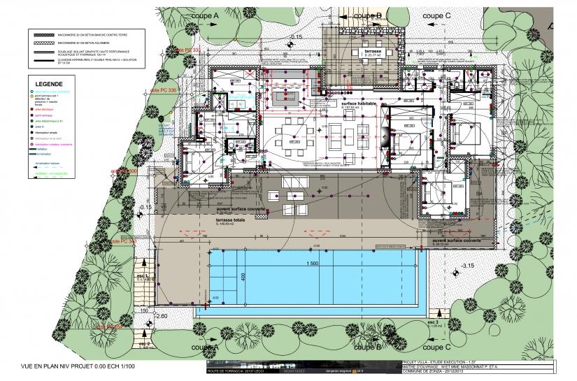 villa contemporaine corse du sud vue en plan piscine terrasse