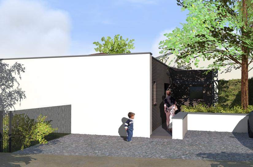 Une entrée claire et élégante. Villa basse consommation contemporaine Nord Isère Lyon