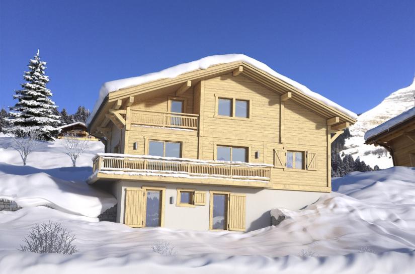 Conception d'un chalet dans la station de ski du Grand Bornand (Haute-Savoie). Vue Sud.