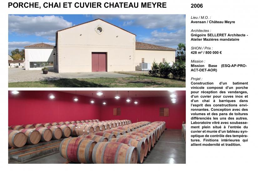 Porche, chai et cuvier chateau Meyre