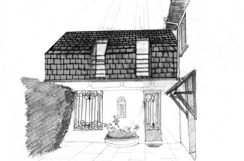 surélévation discrète en harmonie avec la construction existante et offrant un petit balcon sur la cour