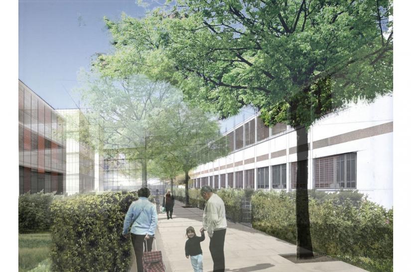 Eco Quartier Centre Sainte Geneviève réhabilitation d'un atelier industriel