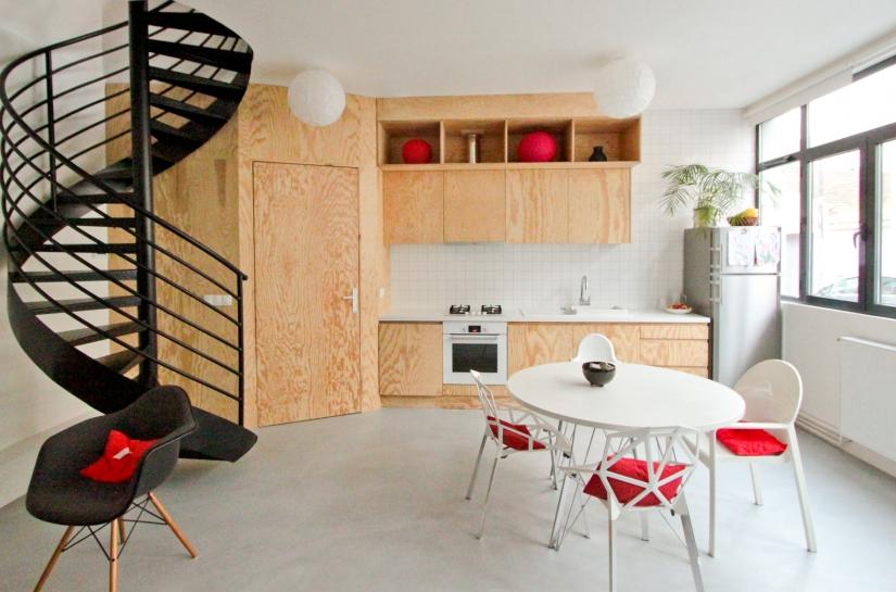 loft, cuisine, bois