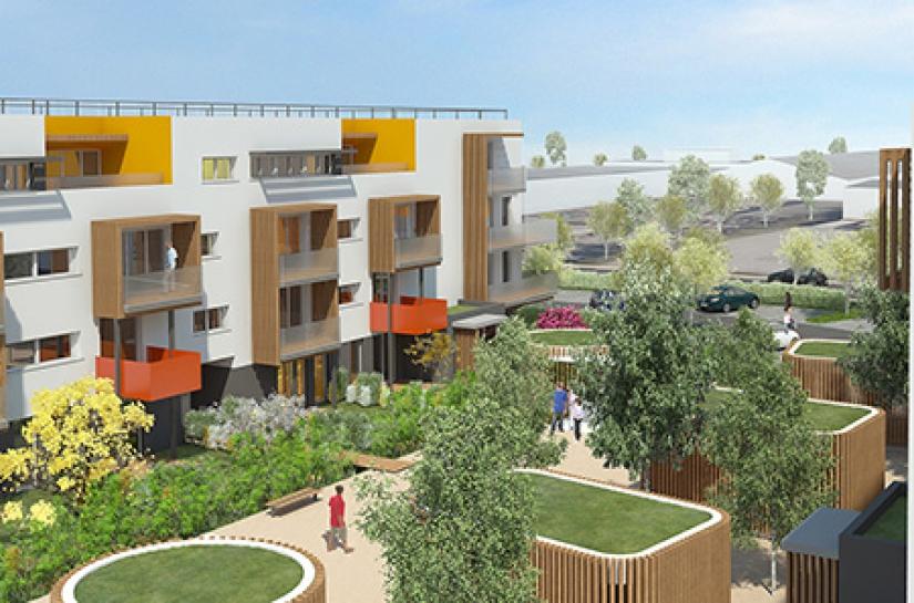 Un ensemble de 3 bâtiments - 1ère opération de logements collectifs à énergie positive en Bourgogne