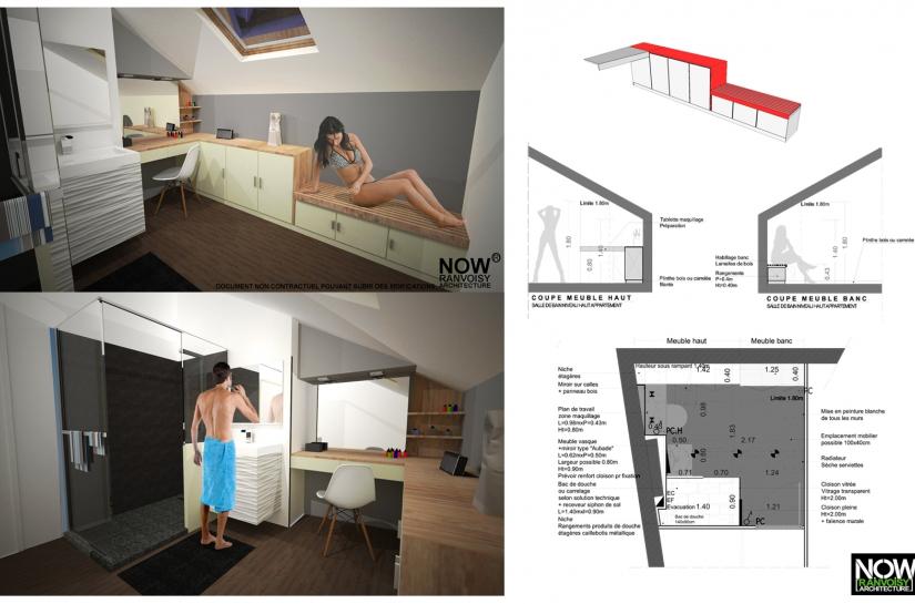 Rénovation logement-Aménagement combles-Création salle de douche-Mobilier sur mesure