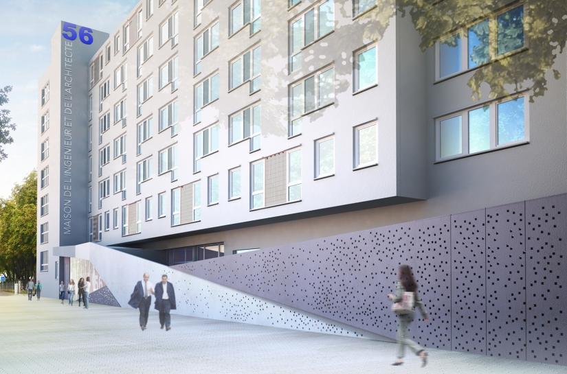 création d'un voile béton perforé qui se déploie en origami afin de marquer l'entrée et redynamiser la façade existante