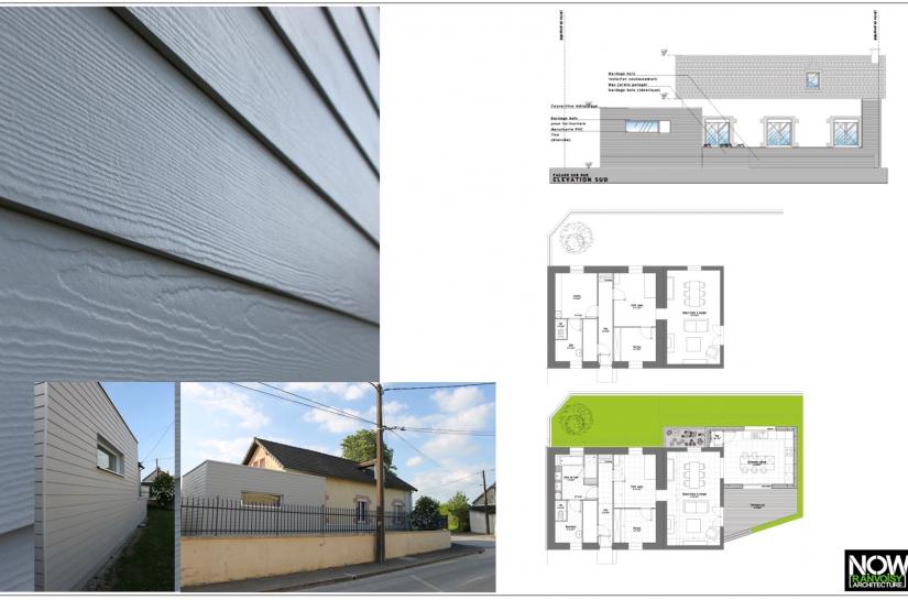 Extension 18m2-Ossature et charpente bois-Toiture terrasse non accessible-Bardage lamelles composite