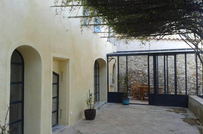 rénovation, extension, bastide ancienne en pierre, véranda, menuiseries aluminum,