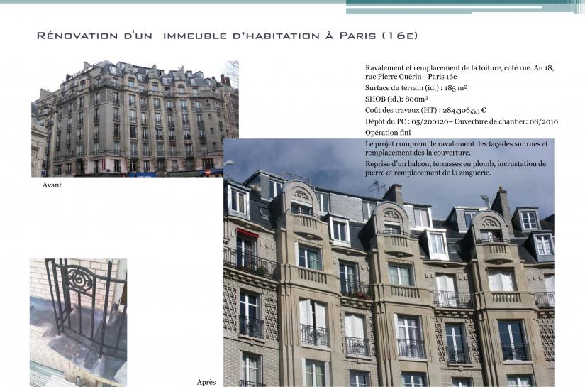 Architecte, Paris, Ravalement