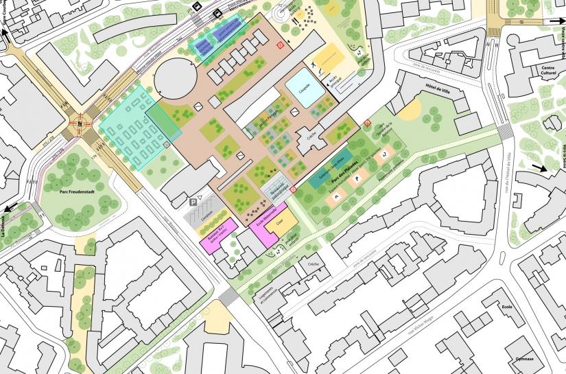 Plan végétal du centre ville de Courbevoie avec un plan schématique du Centre Charras au niveau de la toiture terrasse