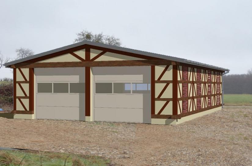 Garage en bois de bout
