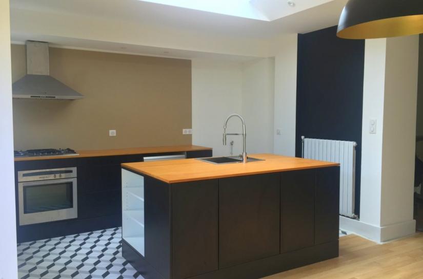 Rénovation d'une extension pour la création d'un espace repas à Nancy - cuisine ilot