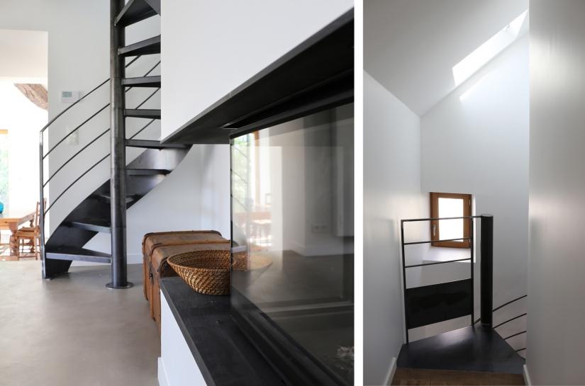 DX ARCHITECTURES, Pierre Degageux, Extension, Réhabilitation, logement individuel, cheminée, béton ciré, piscine, salle de bain