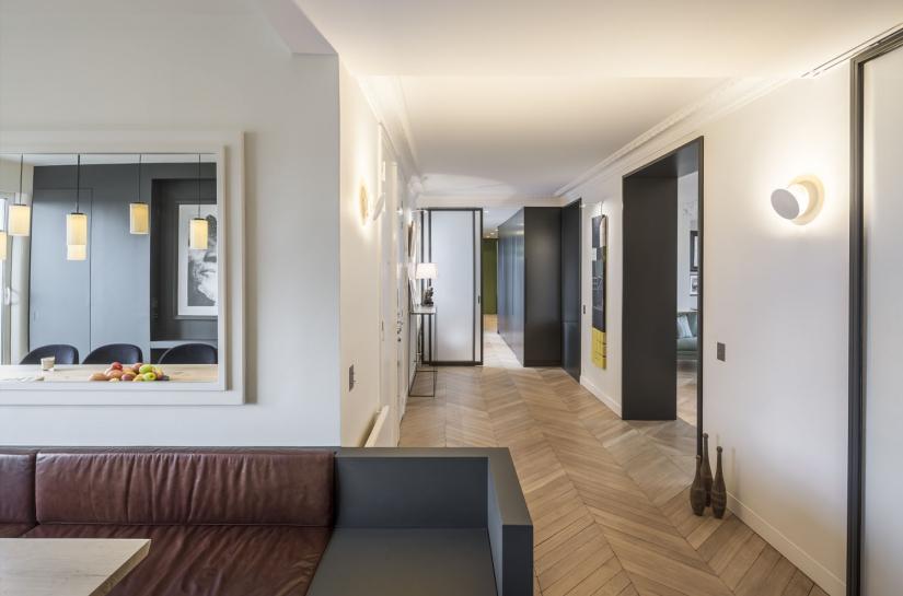 Appartement haussmannien, rénovation complète, hall d'entrée ouvert