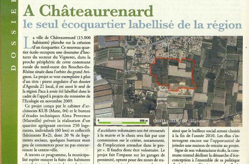 Projet d'écoquartier à Châteaurenard (13) primé, TPBM n°821, 16/06/2010