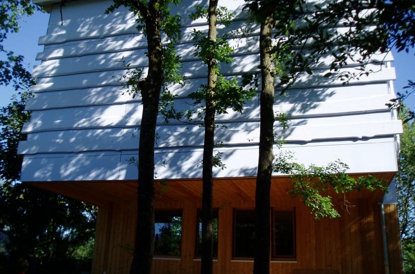 La façade principale et les trois chênes