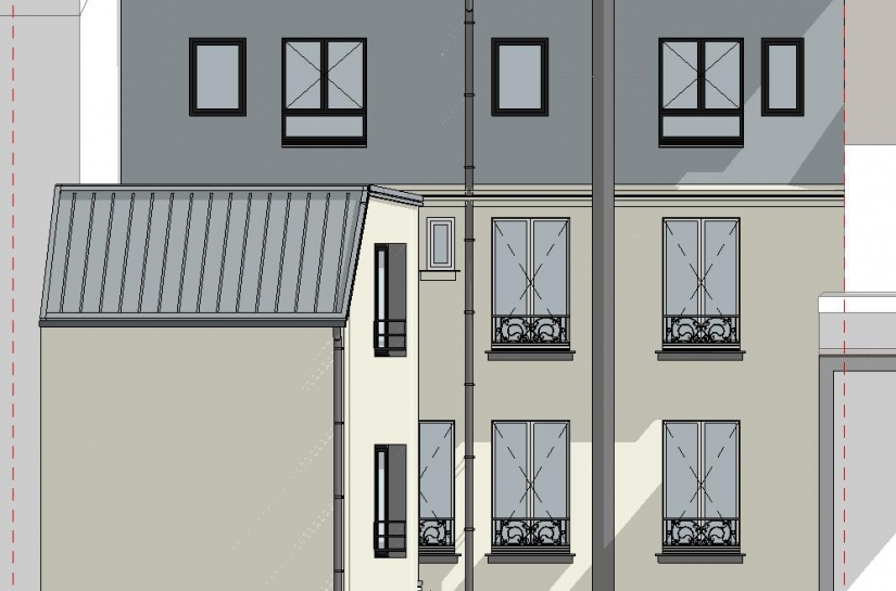 matesco architecture_surélévation extension petit collectif_façade sur cour