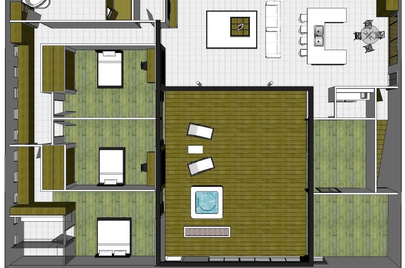 Plan du logement en extension sur un garage. Les pièces s'organisent autour du patio.