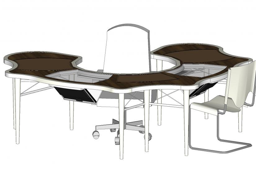 Autant bureau que table de réunion pour huit personnes.