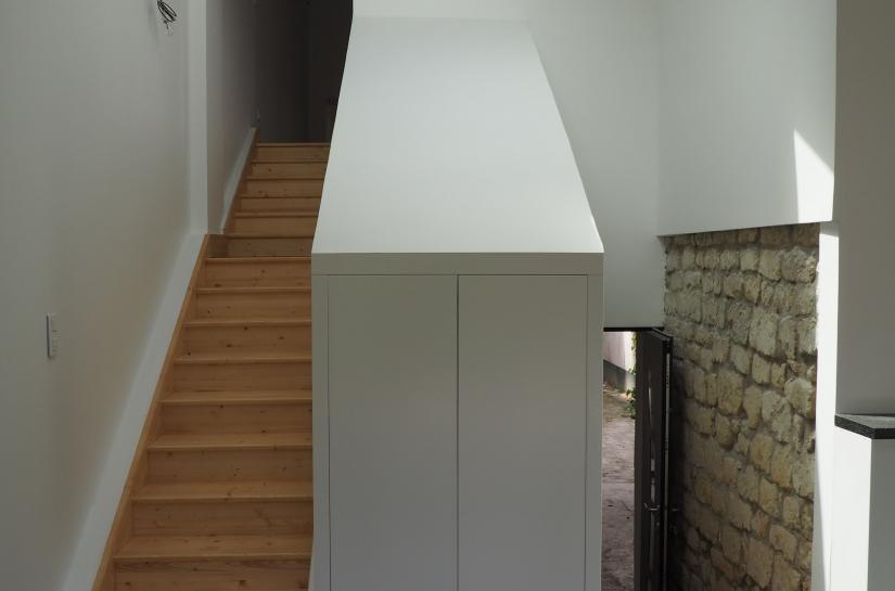 La laiterie - Mur de pierre et escaliers - rénovation extension surélévation architecte gabrielli yvelines