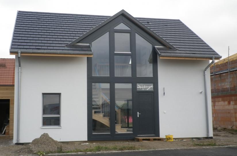 Maison ossature bois / bioclimatique avec pignon vitré