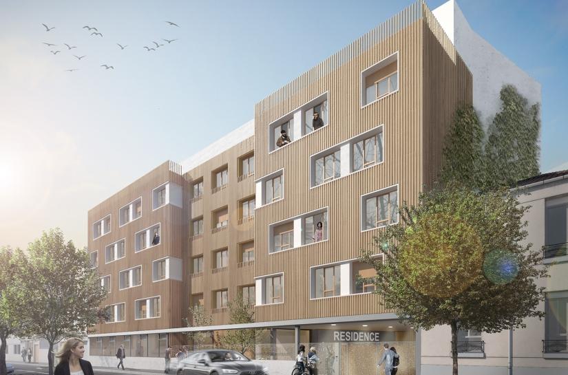 52 logements sociaux et résidence étudiante 104 chambres en conception-réalisation, Montreuil (93)