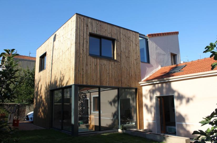 Extension Ossature bois OSB bardage bois horizontal